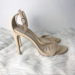 Nude built in cushioned heels